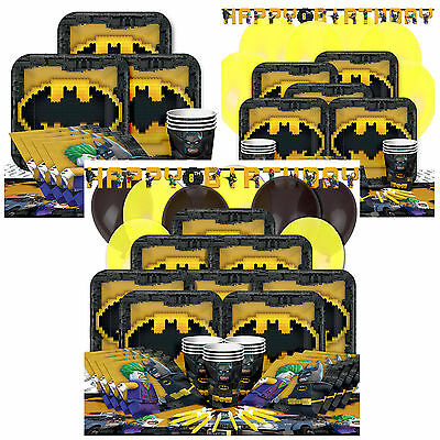 LEGO Batman Kids Birthday Party Pack Tableware Kits - For 8 or 16 Guests
