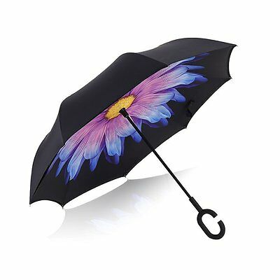 Inverted Umbrella Windproof Reverse Folding Double Layer Travel Cars UV Protect