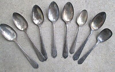 Mixed Lot of 8 Antique Cromwell Rogers Silver Plate  A1 Sectional Spoons