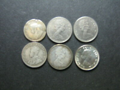 Lot of 6 Canadian Silver Coins - (5) 10 Cents & (1) 5 Cents