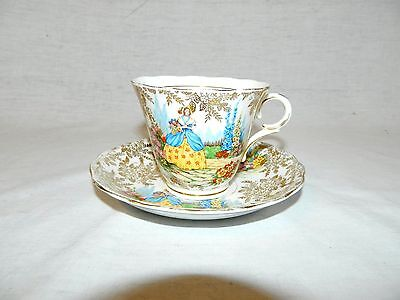 VTG Colclough Teacup & Saucer Lady in the Garden Crinolin Series Bone China