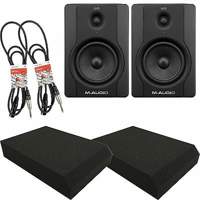 M-Audio BX5 D2 Active Powered DJ Studio monitors Pair with Isolation Pads and Le