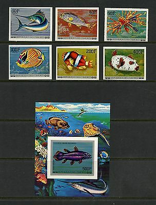 Comoro Islands 1977 #268-74  fish marine IMPERF  set & sheet  MNH J232