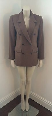 Vintage Tan Brown Fitted Double Breasted Blazer Wool Blend Jacket Vgc Size 8