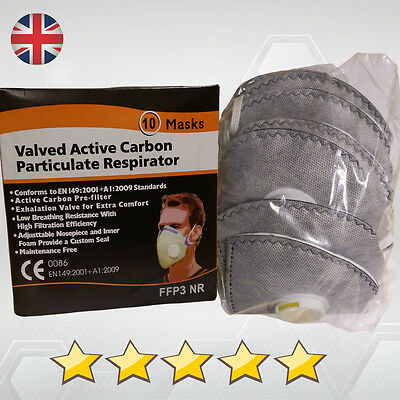 Dust Mask Respirator Fold Flat Valved Ffp3 Protective  Safety Filter Anti Dust