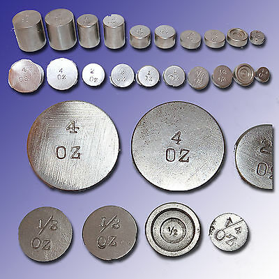 Set Of 10 Stainless Steel Balance Scale Counter Weights From 4 0Z. To 1/4 Oz.