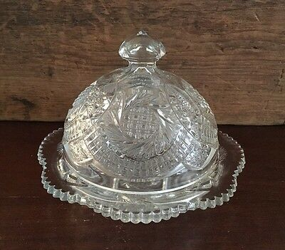Smith Glass Sunburst Clear Round Covered Butter Dish / Box 3