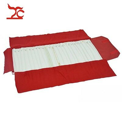 New Jewelry Roll-up Case Mass Storage Bag Travel Organizer for 24 Bracelet - RED