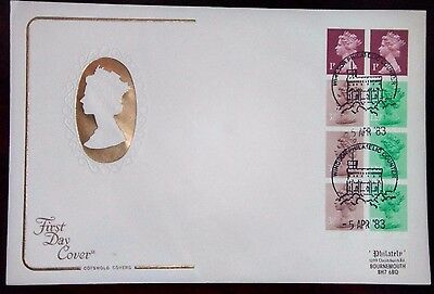 1983 50p rare breeds 2 stamp book pane Definative First day cover.