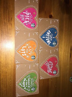 Full Set Of 5 Valentine Heart Cards 2017 - Starbucks Card GB UK Coffee Card 6133