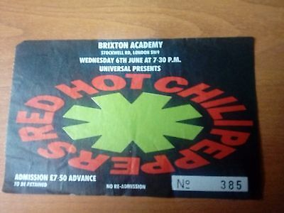 Red Hot Chili Peppers - Used Ticket - Brixton Academy - 6th June 1990