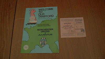 MAN UNITED v JUVENTUS UEFA CUP 2nd Rnd 2nd Leg 20.10.1976 PROGRAMME + TICKET