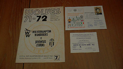 WOLVES v JUVENTUS UEFA CUP 4th Rnd 2nd Leg 22.3.1972 PROGRAMME + TICKET + FDC