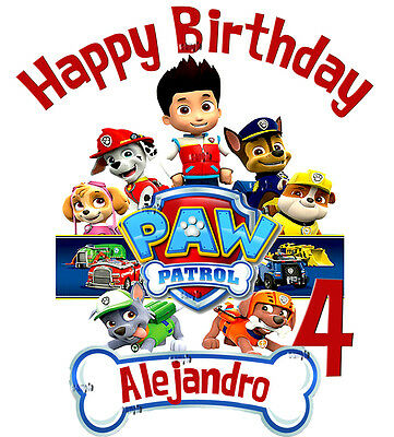 Paw Patrol Birthday Personalized Shirt Add Name & Age Gift Favors Custom Tee