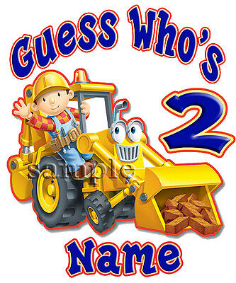 Bob the Builder 2 Personalized Birthday T shirt Gift Tee present add name