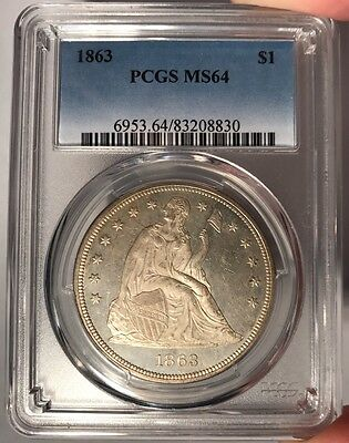 1863 $1 PCGS MS 64 Seated Liberty Silver Dollar