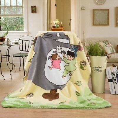 Two Layers Anime My Neighbor Totoro Soft Plush Blanket Bed Throw Quilt 110X140cm