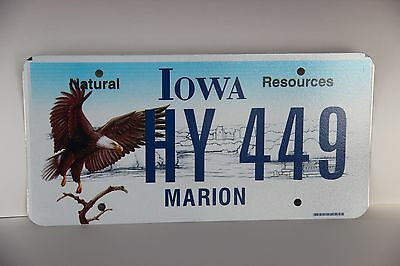 Iowa License Plate Eagle Natural Resources Marion County vintage personalized