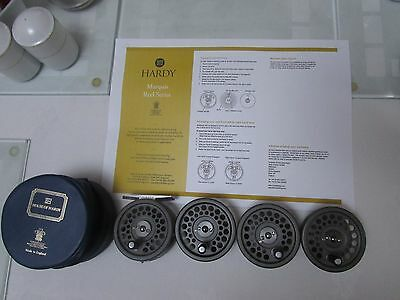 A1 rare original vintage hardy marquis 2/3 trout fly fishing reel + 3 spool etc.