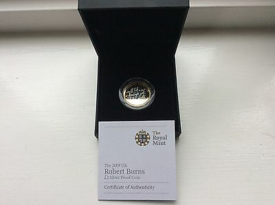 2009 £2 silver proof Robert burns coin with c.o.a