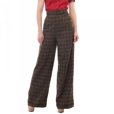 COLLECTIF GERTRUDE BROWN VINTAGE 1940s WW2 STYLE SWING TROUSERS ROCKABILLY