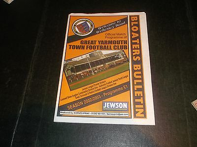 Programme Great Yarmouth V Swaffham Town 2003