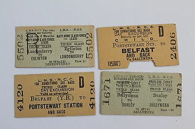London Midland & Scottish Railway - Northern Counties Committee tickets (4)