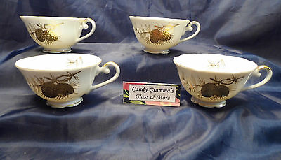 Lefton  White Gold Pinecone Coffee/tea Cup Fine China Set Of Four