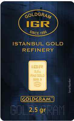 2.5 G Gram  999.9 24K Istanbul Gold Refinery Bar IGR With Certificate