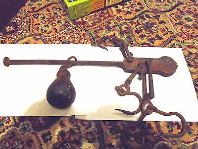 Vintage/antique Old Wrought Iron Steelyard Scales Hooks & Weight