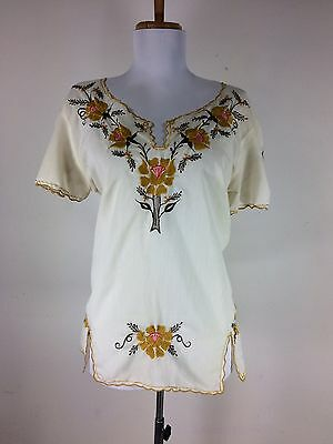 Vintage Mexican Floral Blouse Tunic Shirt Top Semi Sheer Embroidered M L