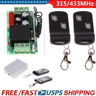 220V 315/433MHz Wireless ON OFF Door Remote Control Switch Receiver Transmitter