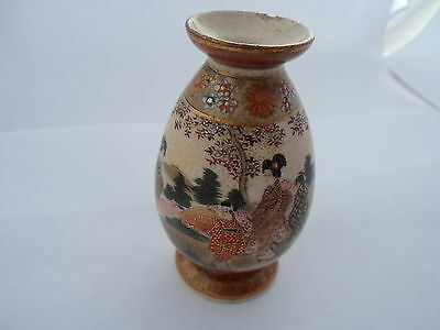 Vintage Collectable Japanese Satsuma Vase With Gold Markings On Base