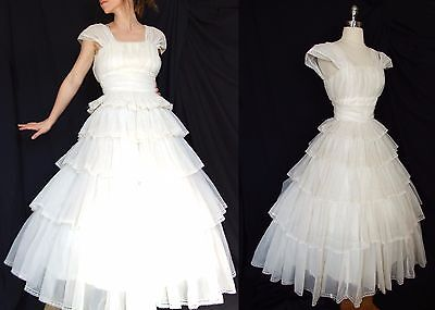 Exquisite Vintage 50s 1950s Sheer Tiered Chiffon Twirl WEDDING Gown DRESS S
