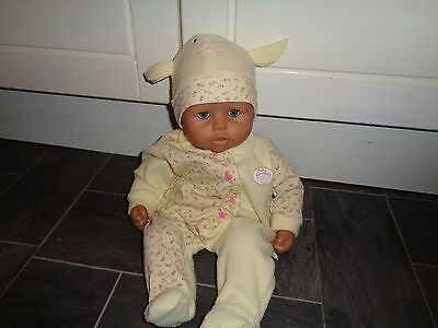 baby annabell doll- talks/cries/babbles etc- in matching sleepsuit+hat