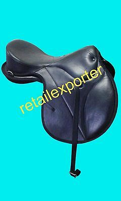 """New Leather Treeless All Purpose Black Jumping All Purpose Saddle 17"""""""