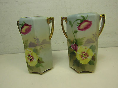 Pair Of Hand Painted Nippon Moriage Flower Holders Small Flower Patterrns