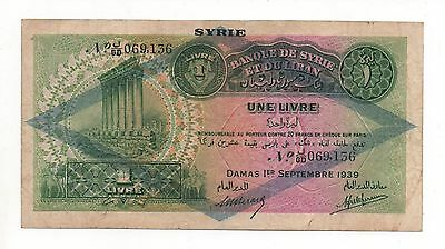Syria Syrie 1 Livre 1939 Pick 40 F Look Scans