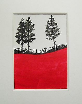 Original Red Field 5# Landscape Miniature Aceo Painting