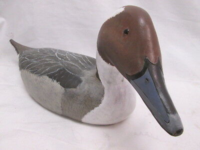 Pintail Hand Painted Wood Carved Duck Decoy 1995 Signed EJ