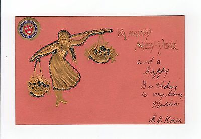 Vintage Postcard A Happy New Year Harvard Student Harvard Seal Gold Glitter IA