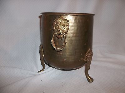 """Vintage Hammered Copper Brass Footed Pot Lion Head Handle  7"""" Diameter Opening"""