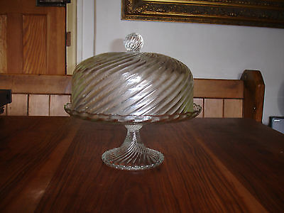 VINTAGE  GLASS CAKE STAND With GLASS DOME COVER LID  Pedestal