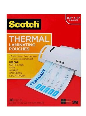 Scotch Thermal Laminating Pouches 8.9 x 11.4-Inches 3 mil thick 100-Pack ... New