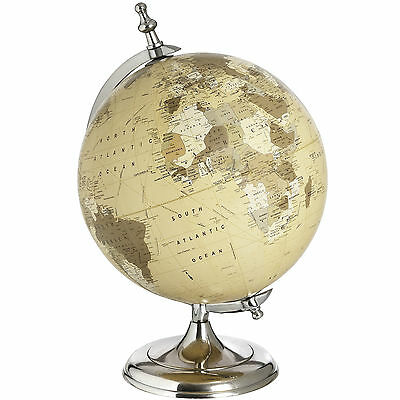 Beautiful Large Rotating Chrome Desk Globe. Vintage/Antique Look. Decor/Display