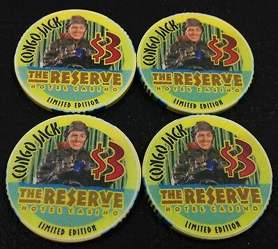 Set of 4 The Reserve $3 Casino Chips Henderson Nevada ChipCo. 2001 FREE SHIPPING