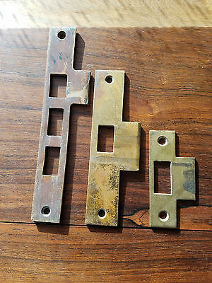 3 Old Brass Plated Steel Door Jamb Mortise Lock Strike Plates Keeper Catch