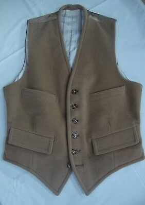 Vintage Camel Waistcoat Small, striped lining, satin back