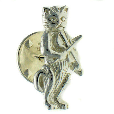 Sterling 925 British Silver Cat Playing Fiddle Violin Lapel Pin Brooch