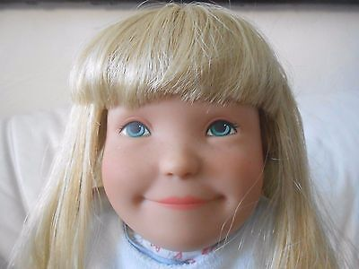 "Kathe Kruse Lolle blond hair blue eyes soft body 22"" doll w/display stand"